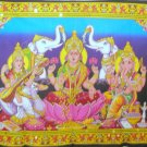 Hindu God Ganesha Saraswati Lakshmi Laxmi Tapestry Indian Sequin Wall Hanging Ethnic Decor Art India