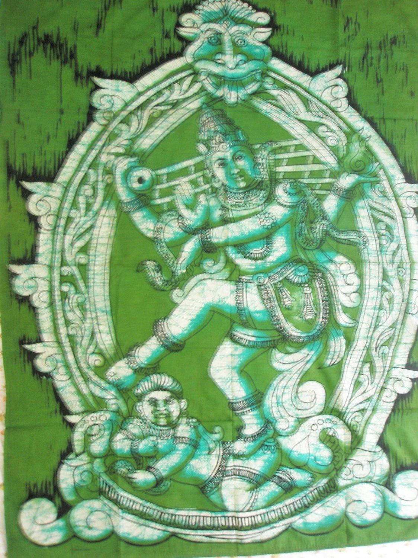 Batik Lord Shiva Shiva Dancing Nataraja  Wall Hanging Decor Cotton Tapestry India  Vintage Art