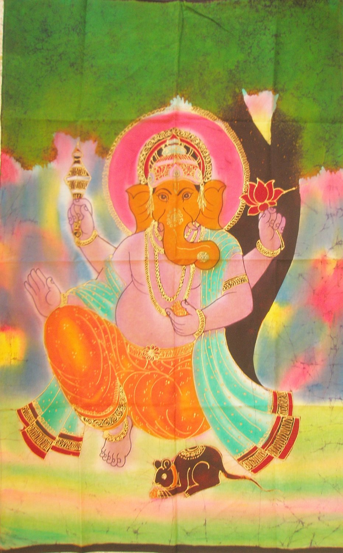 Handmade Batik Ganesha Tapestry Wall Hanging Ganesh Hindu Elephant God Indian Vintage Decor India