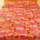 Vintage Indian Kantha Quilt Bedspread Flower Print Blanket Throw India Ethnic Bedroom Decor
