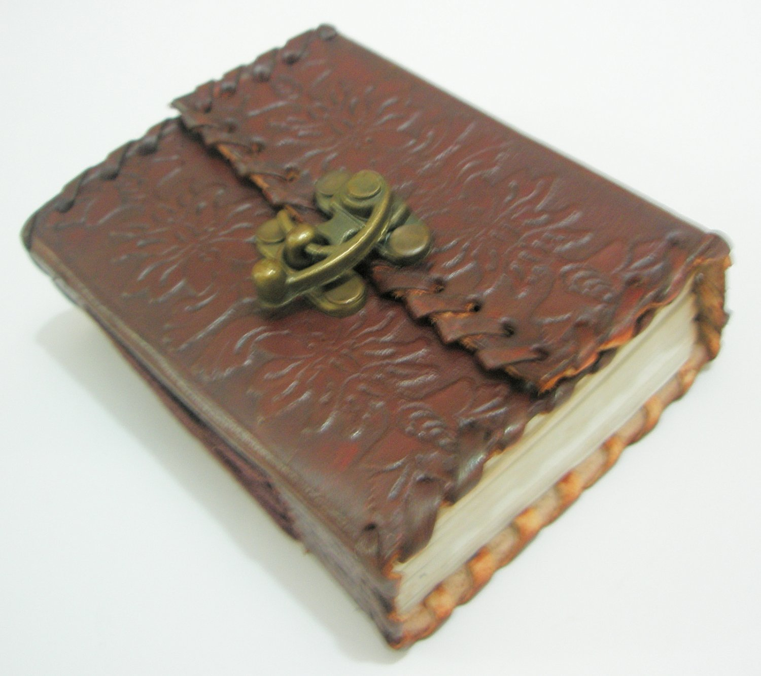 Handmade Leather Bound Mini Embossed Journal Pocket Diary Blank Writing Notebook with Lock