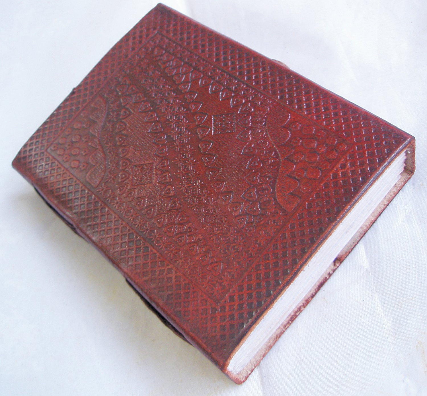 Handmade Paper Leather Bound Embossed Journal Vintage Traveler Diary Notebook Blank Book