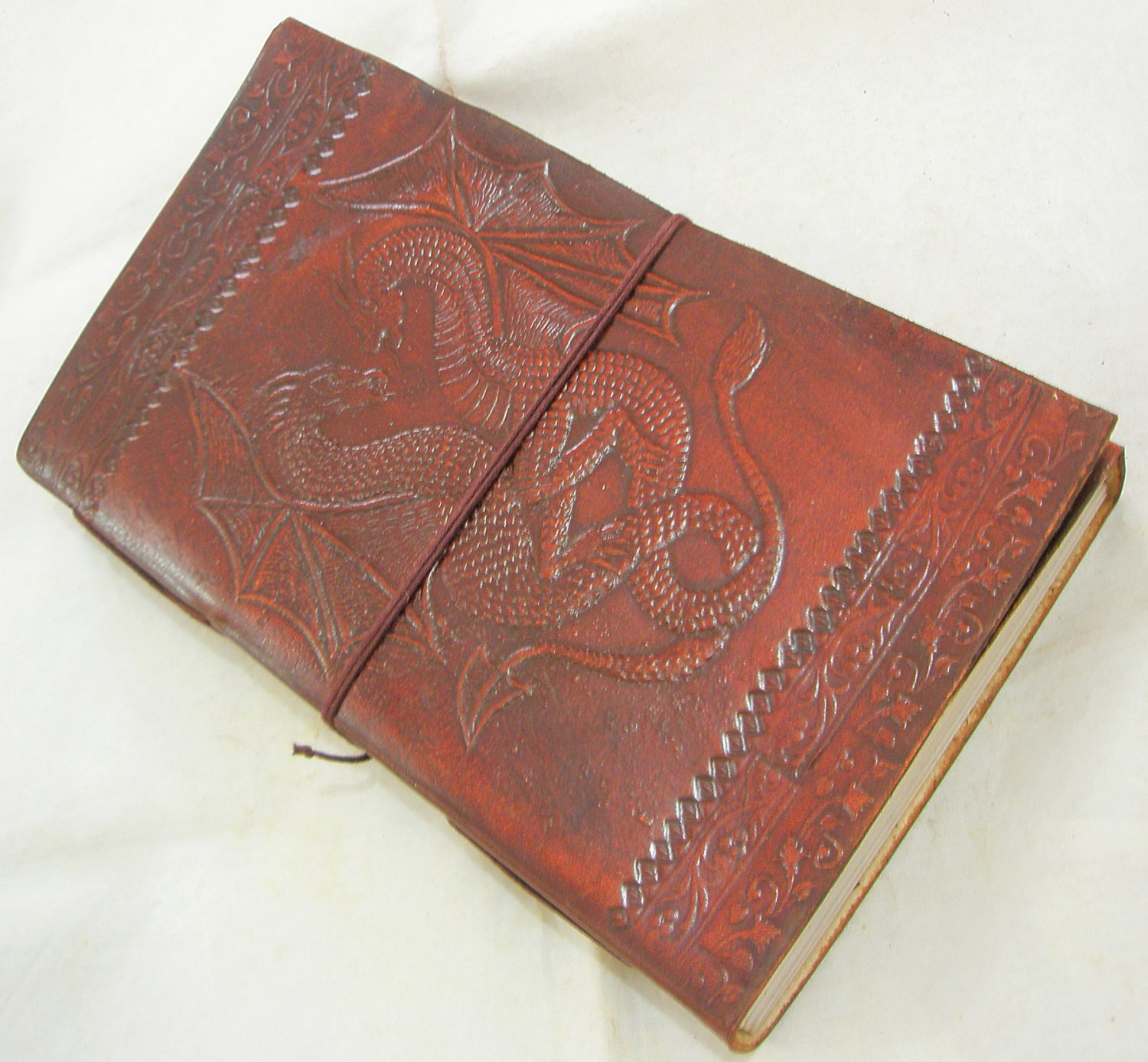 Handmade Paper Leather Bound Journal DOUBLE DRAGON Embossed Vintage Blank Diary