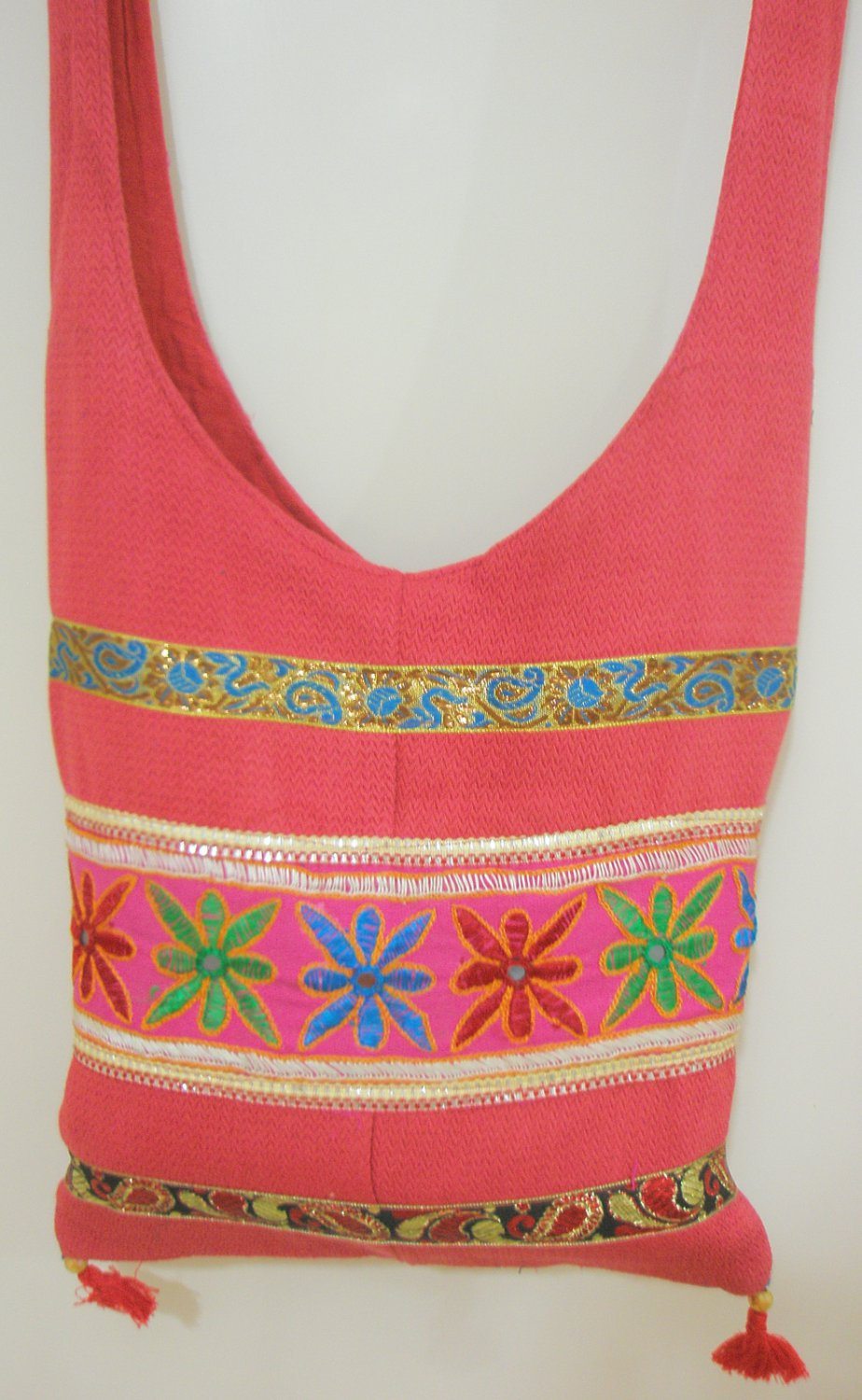 Vintage Hippy Style Embroidered Cross Body Messenger Sling Bag Cotton Fabric Retro India