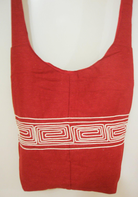 Red Hippie Boho Crossbody Bag Fabric Messenger Sling Bag Ethnic Vintage Retro India