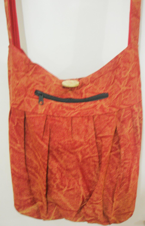 Red Hippie Boho Crossbody Bag Cotton Fabric Messenger Sling Bag school teens Ethnic Vintage