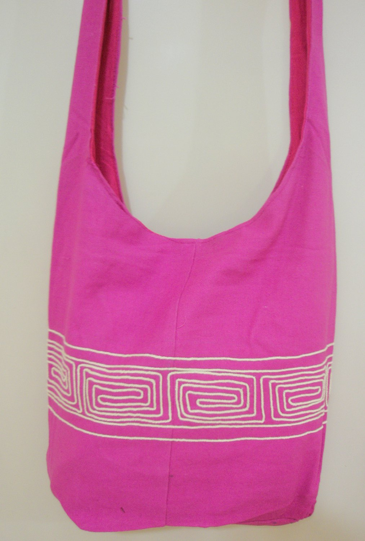 Pink Hippie Boho Crossbody school Bag Fabric Messenger Sling Bag girls Ethnic Vintage Retro