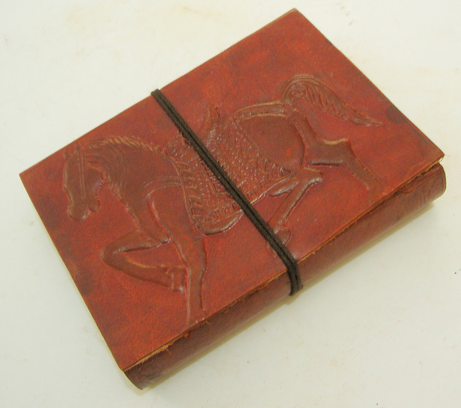 HORSE Embossed Handmade Paper Leather Bound Journal  Blank Diary Notebook