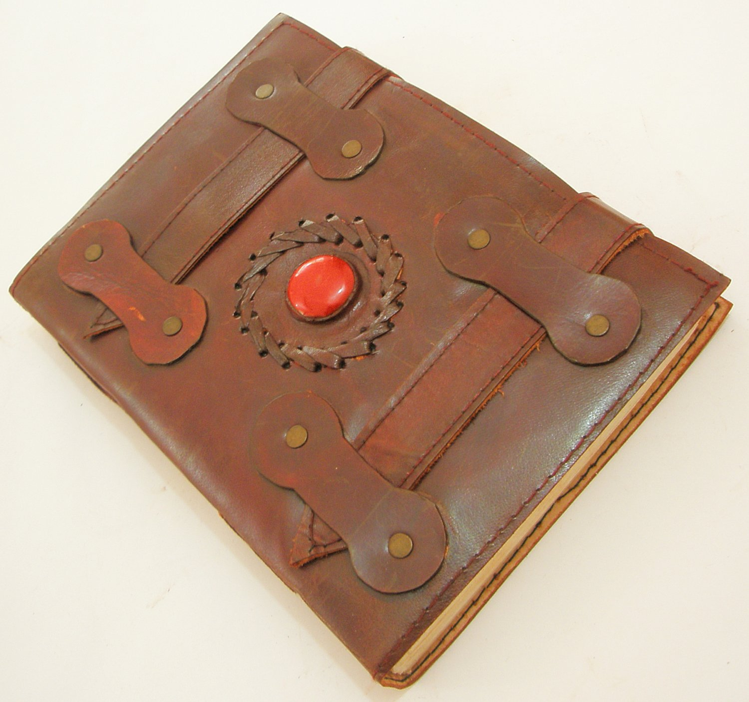 Handmade Paper Leather Bound Brown Journal Writing Notebook Blank Traveler Diary