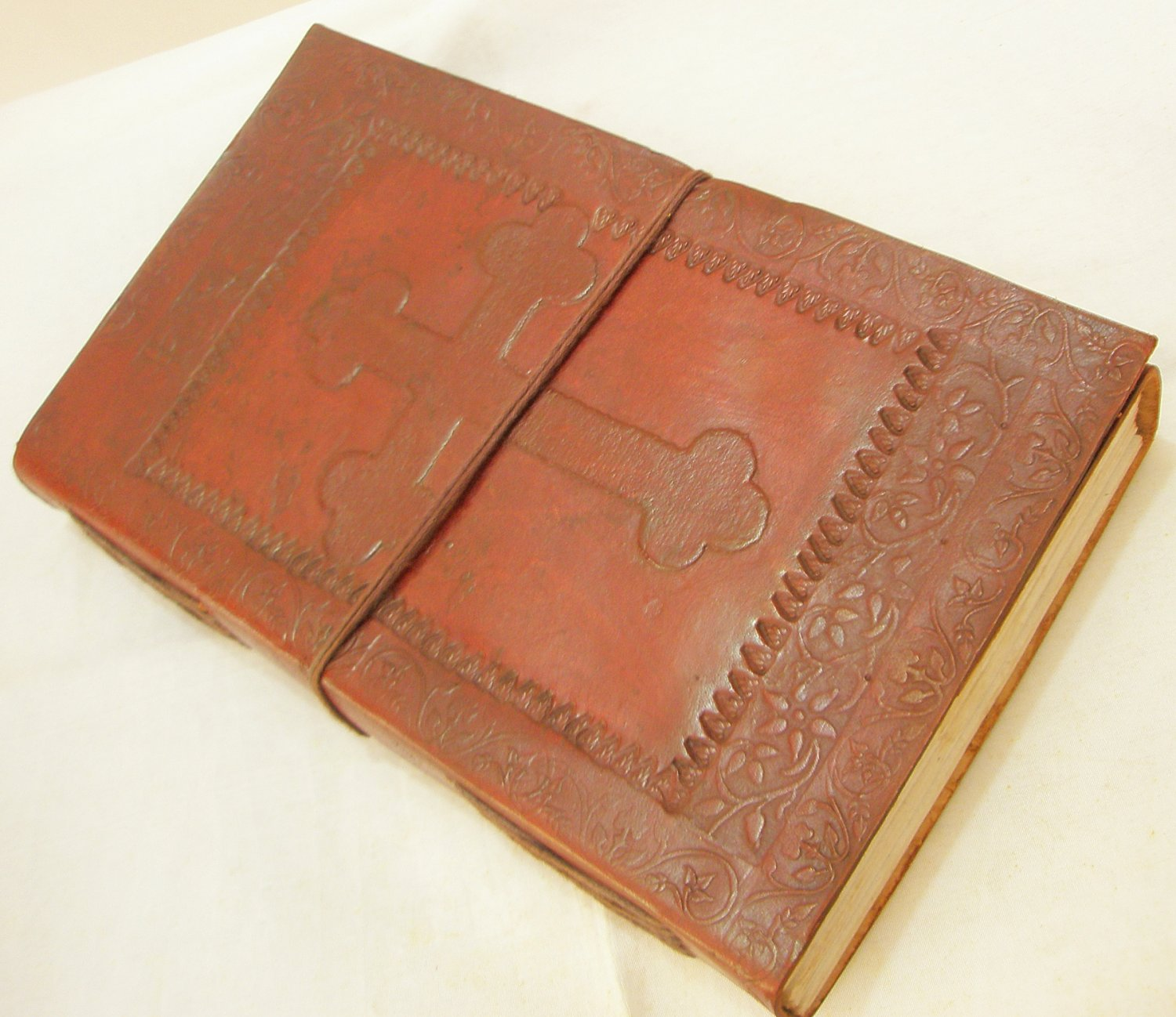 Handcrafted Celtic Cross Embossed Leather Journal Diary Grimoire Blank Writing Notebook