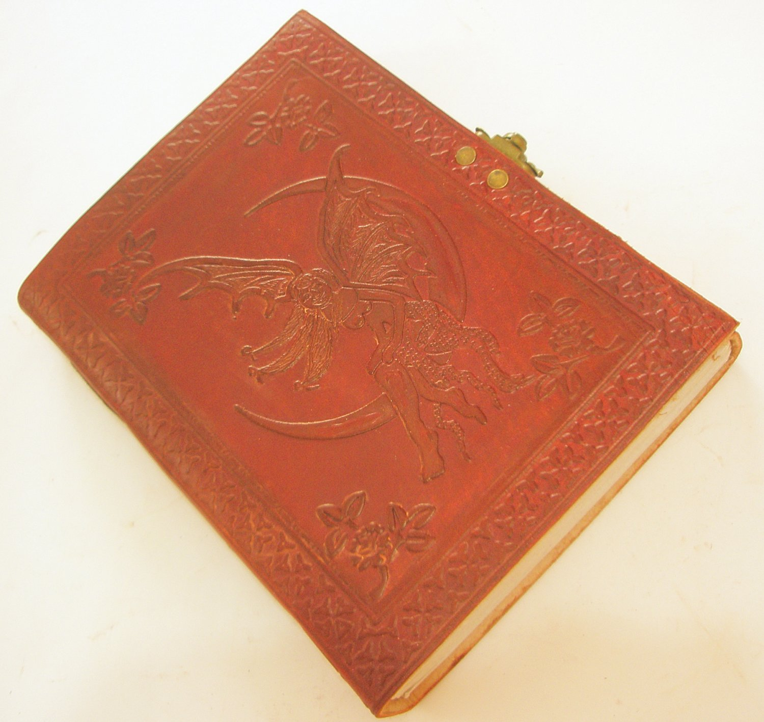 Handmade Leather Journal Celtic FAIRY MOON Embossed Blank Diary Large Sketchbook