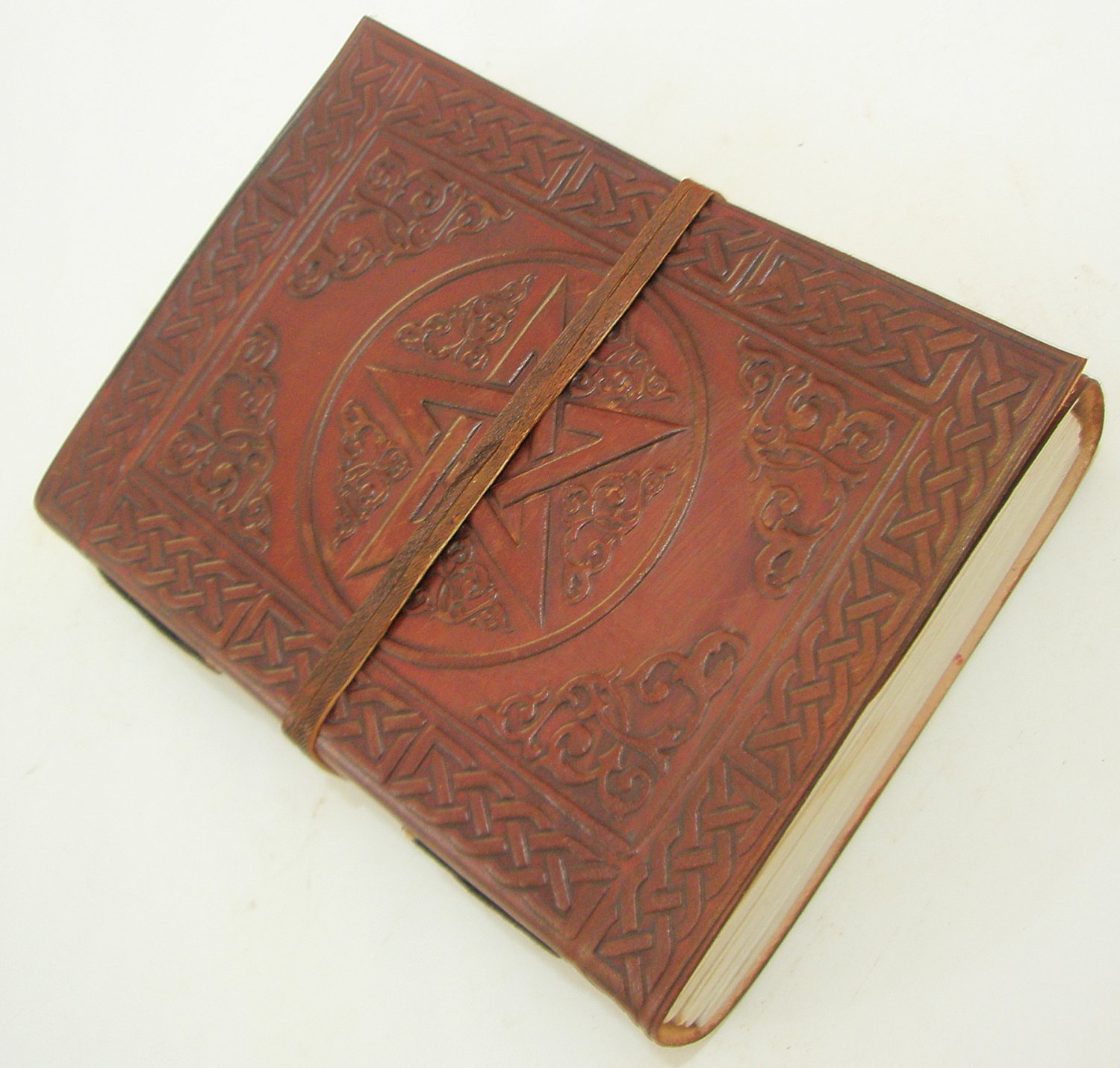 Natural Paper Handmade Leather Bound Celtic Pentagram Blank Journal Diary Embossed Writing Notebook