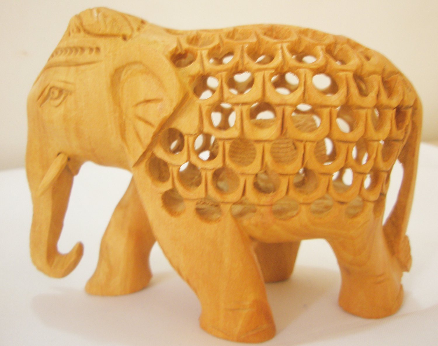 Hand Carved Intricate Wooden Elephant Figurine Baby Elephant Lucky Figure Statue