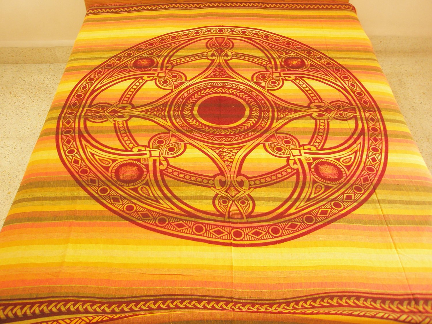 Celtic Print Indian Cotton Bedspread Queen Coverlet Wall Tapestry Wiccan Pagan Bohemian Home Decor