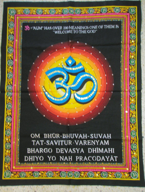 Hindu Symbol OM AUM Ohm Gayatri Mantra Sanskrit Tapestry Sequin Wall Hanging India Vintage Decor