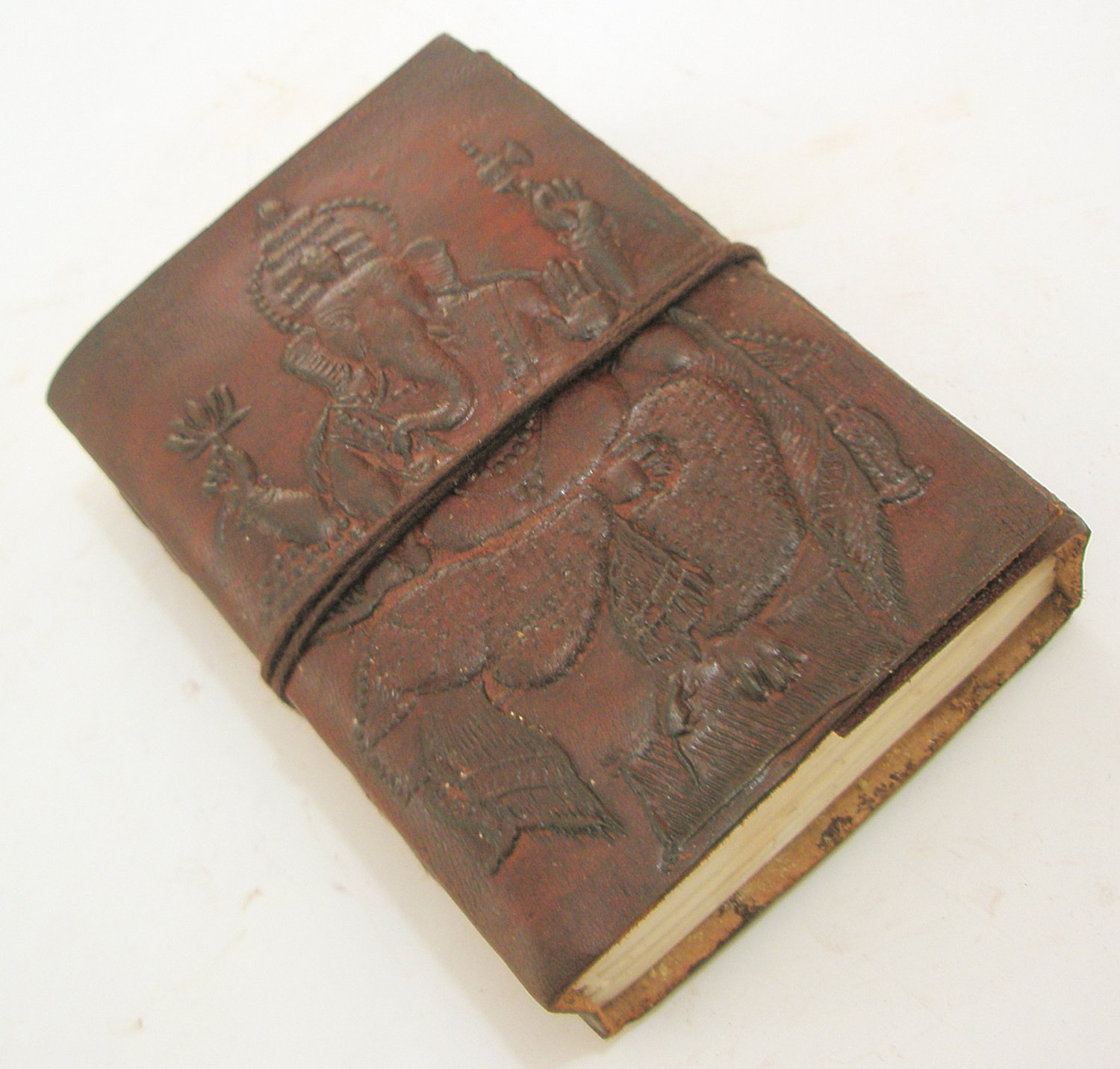 Handmade Embossed Leather Journal Recycled Paper Diary Notebook Sketch Book with Hindu God Ganesha