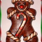 Christmas Pin Vintage Ginger Bread Man w Candy Cane