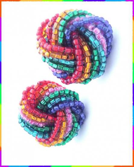 Rainbow Earrings Twisted Foil Glass Beads 9500
