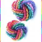 Rainbow Earrings Twisted Foil Glass Beads 9500