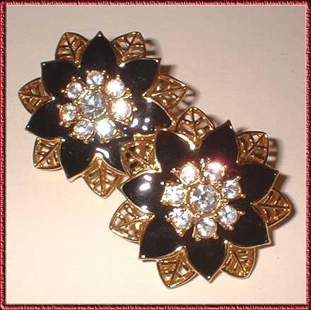 Christmas Earrings Gold Black Poinsettia w Rhinestones 9336
