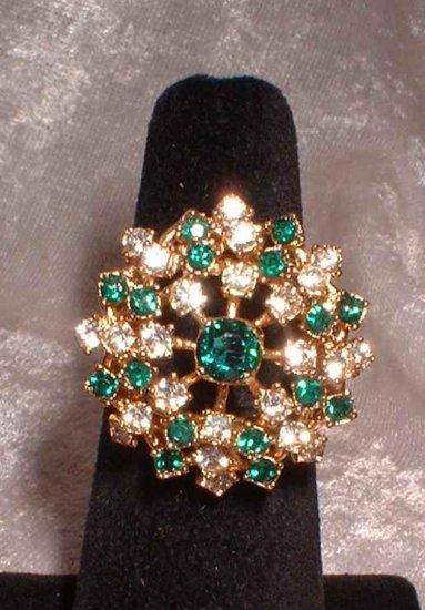 Emerald Rhinestone Cocktail Ring Vintage 60s Star Burst 9694