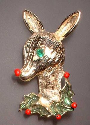 Vintage Christmas Pin Gold Reindeer Signed Gerry's 7179