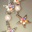 Vintage Christmas Star Earrings Rhinestones w Pearls 7521