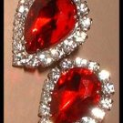 Ruby Red Glass Earrings Pear Cut w Rhinestones 7721