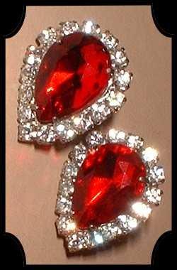 Ruby Red Glass Earrings Pear Cut w Rhinestones 7721