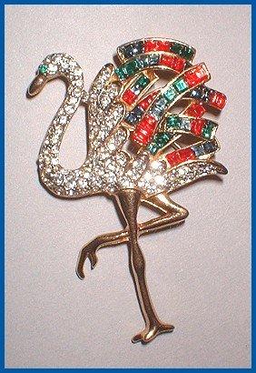 Rare Rhinestone Flamingo Bird Pin 1940s Brooch 7624
