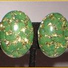 Bohemian Glass Earrings Vintage 1950s Green w Gold 8083