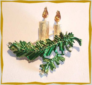 Vintage Christmas Candle Pin HEDY Gold w Citrine Flame 9633
