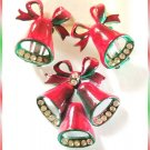 Christmas Pin w Earrings Vintage 1940s Pot Metal Bells 9623