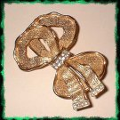 Elegant Ribbon Pin Satin Gold w Rhinestones 9350