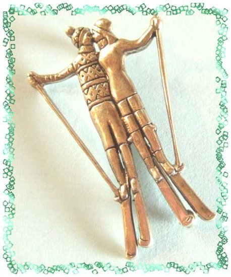 Sterling Silver Pin Kissing Christmas Skiers Signed Mia 9477