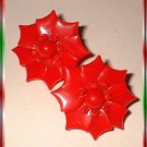 Christmas Earrings Celluloid Poinsettias 40s W Germany 9367
