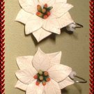 Vintage Christmas Earrings Ivory Celluloid Poinsettias 9428