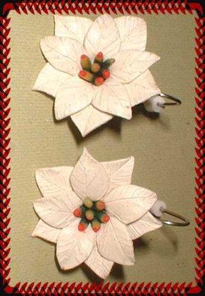 Vintage Christmas Earrings Ivory Celluloid Poinsettias 9428