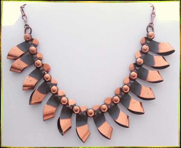 Vintage Copper Necklace Renoir Ribbons w Ball Beads 9672