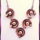 Vintage Copper Necklace Retro Modern Space Age Design  9673