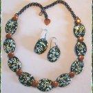 Vintage Copper Enamel Necklace w Earrings Splattered 9651