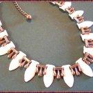 Matisse Copper Enamel Necklace White Teardrop Design 9654