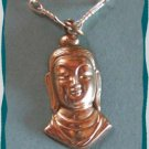 Antique Gold Buddha Charm Necklace w Oriental Signature 9505