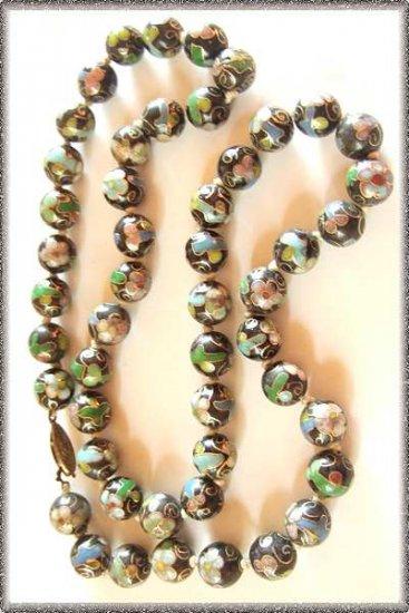 Antique Cloisonne Necklace Black w Flowers Old Clasp