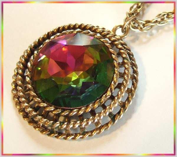 Vintage Crystal Necklace Big Watermelon Rivoli Pendant 9518
