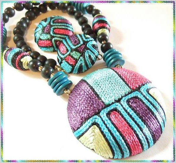 Retro Modern Big Silk Necklace w Earrings Super Colors 9529