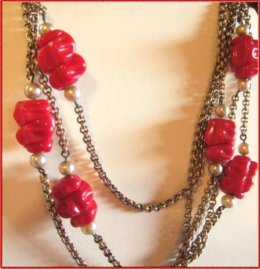 Red Glass Necklace Old Czech Bohemian w Rolo Chain 9523