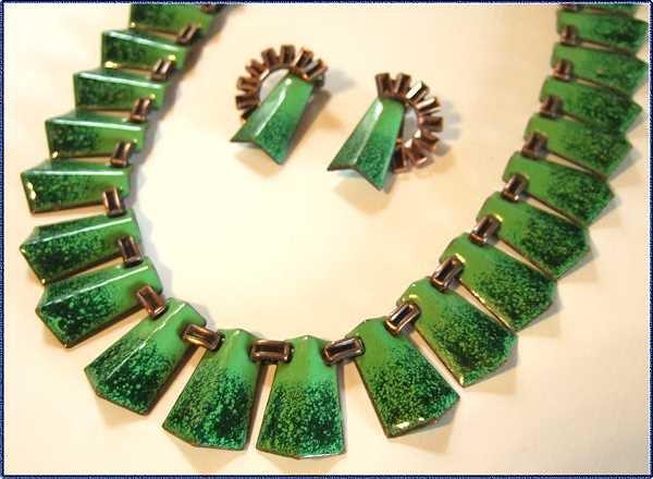 Matisse Necklace Earrings Copper Enamel Green Cobalt 9255