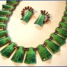 Matisse Necklace Earrings Copper Enamel Green Cobalt 9255