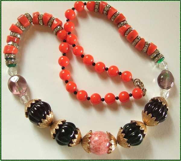Vintage Necklace RS Rhondells w Glass Carnegie KJL 9474